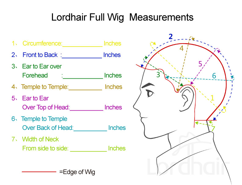 Full Cap Wig Measurements